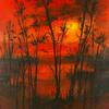 Lake Sunset Framed 12 x 16 Acrylic on Canvas - Sold