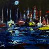 Harbour Lights Framed 15 x 30 Acrylic on Canvas
